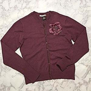 NWOT Mauve Button Cardigan W/ Floral Pin